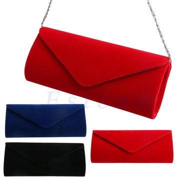 New 1Pc Ladies Velvet Evening Clutch Handbag Chain Bag Formal Chain Shoulder Tote Purse