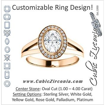 Cubic Zirconia Engagement Ring- The Blondie (Customizable Bezel-set Cathedral-style Oval Cut with Halo Style and V-Split Band)