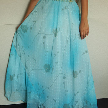 Maxi Skirt, Gypsy Skirt, Indian Skirt, Blue Skirt