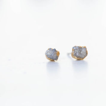 Rough Diamond Earrings, Raw Diamond Earring, Gray Diamond Earrings, April Birthstone Earrings, Raw Crystal Earrings, Grey Diamond Studs