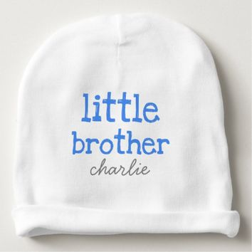Personalized Add a Name Blue Text Little Brother Baby Beanie