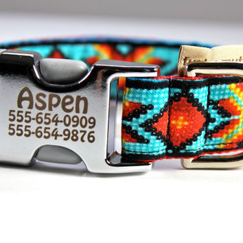 "Customizable pet identification collar-- in Faux Bead Turquoise on lightweight Alu-Flex aluminum buckle 1"" wide"