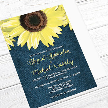 Sunflower Wedding Invitations Denim - Rustic Yellow Floral over Blue - Printed Sunflower Invitations