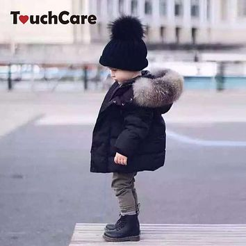 Baby Winter Warm Coats Kids Boy Girl Thick Hooded Jacket Cotton Parka Child Padded Thermal Snowsuit Fur Collar Clothes