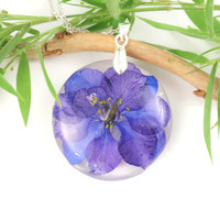 Handmade Flower Resin Pendant  - Real Pressed Flower Resin jewelry, Botanical Necklace, Nature jewelry, Flower Jewelry, Birth month July