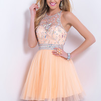 Blush Prom 9876 - Apricot Beaded Illusion Prom Dresses Online