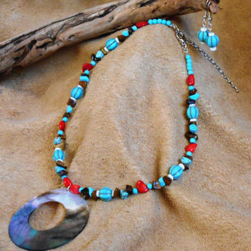 Turquoise, Red Coral and Tigers Eye Jewelry Set, Handmade, Gemstone Necklace and Earrings, Native American Inspired, OOAK