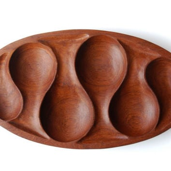 Hand Carved Wood Tray / Midcentury Serving Dish / Vintage Wooden Platter