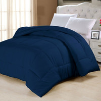 King Comforter in Navy Blue Cotton Poly Blend Microfiber