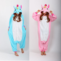 2016 Blue And Pink kigurumi Unicorn Onesuits Pijama Winter Sleepwear  Animal PajamasCosplay  Onesuits Sleepwear For Men Women