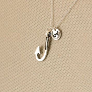 Fish Hook Necklace. Personalized Initial Necklace. Fish Necklace. Fishing Necklace. Sterling Silvr Necklace. No.161