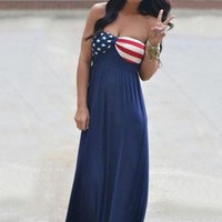 Strapless American Flag Pattern Women's Maxi Dress