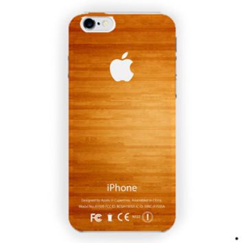 Apple Logo Wood Custom For iPhone 6 / 6 Plus Case