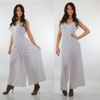 Boho white Palazzo jumpsuit sheer gauze sleeveless deep V wide leg high waist