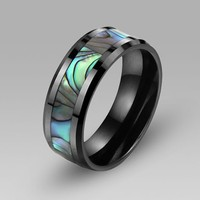 Natural Mother of Pearl Printing Black Ceramic Men's Band/Ring