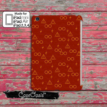 Red and Gold Glasses Lightening Bolt And Wand Symbol Pattern HP Cute Custom iPad Mini, iPad 2/3/4 and iPad Air Case Cover