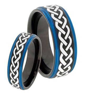 His Hers Laser Celtic Knot Blue Step Edges Tungsten Men's Wedding Band Set
