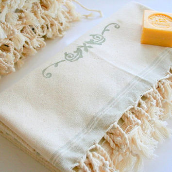 Turkish Bath-Hammam-Spa-Pool-Massage-Beach Towel -Throw-Picnic and Table Cloth-Ivory-Big Size