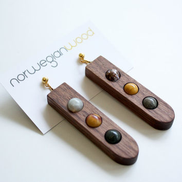 "Wood and Multi Stone Earrings from the ""Palette"" collection - Norwegian Wood x Devin Barrette Collaboration"