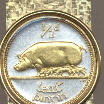 Gorgeous 2-Toned Gold on Silver Irish Pig & piglets,  Coin - Money clips