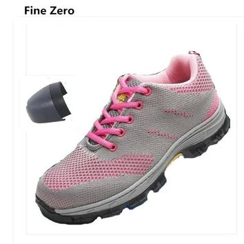 Fine Zero Women Lightweight Boots Work Safety Shoes Steel Toe Cap For Anti-Smashing Puncture Female Air Mesh Protective Footwear