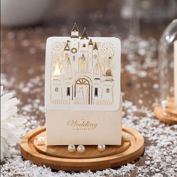 Romantic Castle Favors And Gifts Baby Shower Elegant White Luxury Decoration Laser Cut Party Wedding Paper Candy Box For Guest