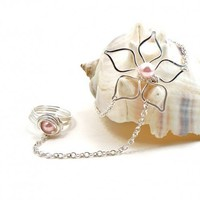 Silver Daisy Flower Slave Bracelet with Ring Attached and Pink Pearls | BrainofJen - Jewelry on ArtFire