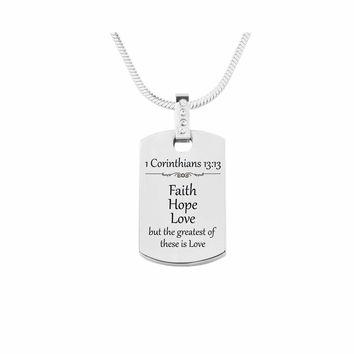 Scripture Tag Necklace With Cubic Zirconia - 1 Corinthians 13:13