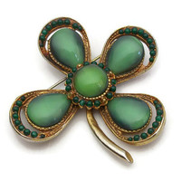 Four Leaf Clover Brooch Pin Green Moonglow Cabochons Beads Gold Tone Lucky Charm Good Luck Clover St Patricks Day Irish