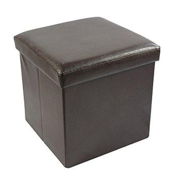 Ben&Jonah Collection Collapsible Storage Ottoman - Brown Faux Leather 15x15x15