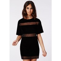 Missguided - Dora Velvet Mesh Panel T-Shirt Dress Black
