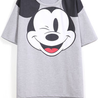 Cartoon Character Print T-Shirt in Grey
