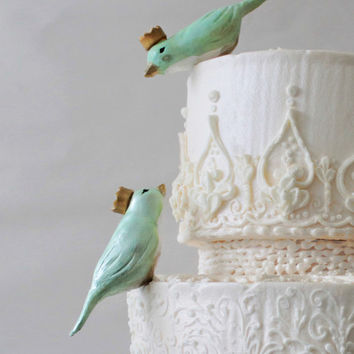 Mint Green Lovebirds with Crowns - Custom Birds Wedding Cake Toppers