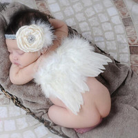Newborn Baby Girl Boy Beige Feather Angel Wing + Flower Headband Photography Props