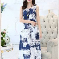 Ink Print Sleeveless Shirtwaist A-line Maxi Dress