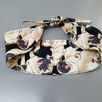Pin - up - rockabilly  - Retro  - vintage  - pug - pugs - animal - print - Rosie - riveter  - style -  hair tie