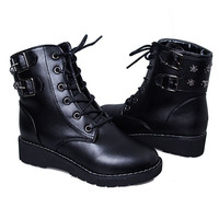 Motorcycle Boots Ladies Vintage Rivet Combat Army Punk Goth Ankle Shoes   boots Size 35-40