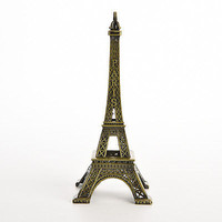 Bronze Tone Paris Eiffel Tower Figurine Statue Vintage Alloy Model Decor 13cm LS