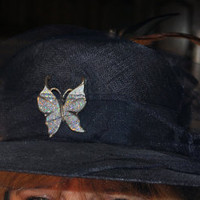 Womens Navy Blue Hat-Wide Brim-Hand Decorated-Refurbished-Recycled Jewelry-Upcycled Pencil Shaving Flowers-Boho-Eclectic