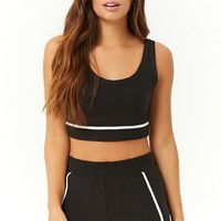 Striped-Trim Crop Top & Dolphin Shorts Set