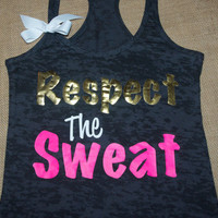 Respect The Sweat. Bow. Tank top. Racerback. Size S-2XL. Burnout. Black. Exercise. Women. Workout.