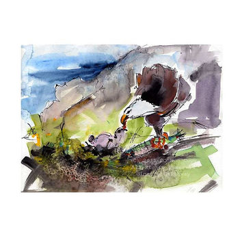 Eagles Nest - Modern Watercolor Animals Birds of Prey  Feeding the Baby - Catalina Island Original Watercolor and Ink by GInette Callaway