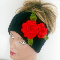 Headband Knitting, Crochet Headband, Black Headband, Ear Warmers, Turban, Boho Headband, Women Headband, Gift Ideas,Jasminejasmine