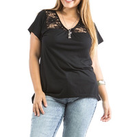 Plus Size Lace Shoulder Short Sleeve Knit Top in Black
