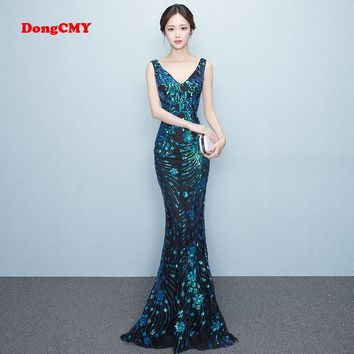 DongCMY WT1022 Prom dress New 2018 sexy Sleeveless fashion Sequin long party shiny Backless