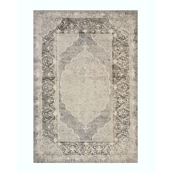 Gray Traditional Distressed Bohemian Moderno Medallion Rug