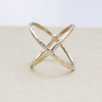 Hammered X ring with gold filled (18 Gauge)