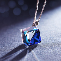 Jewelry Stylish New Arrival Gift Shiny 925 Silver Crystal Love Pendant Accessory Necklace [10375448212]