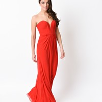 Red Strapless Mesh Knit Sweetheart Sexy Long Column Gown 2016 Prom Dresses