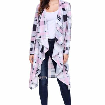 Pink Hipster Plaid Draped Open Front Cardigan